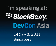 Im Speaking at BlackBerry DevCon Asia!